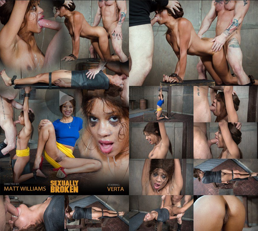 Verta, Matt Williams, Sergeant Miles - Verta is bound down hard and fucked harder. Brutal face fucking and cervix pounding creates orgasms (BDSM / Extreme Rough Sex) [HD 720p] - SexuallyBroken.com