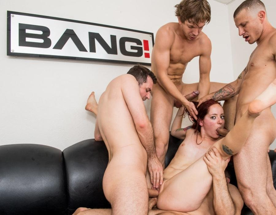 Ariel Blue - Redhead Ariel Blue Gets Throat Fucked And Double Penetrated In A Gangbang (Gangbang, Tattoo) [HD 720p] - Bang.com