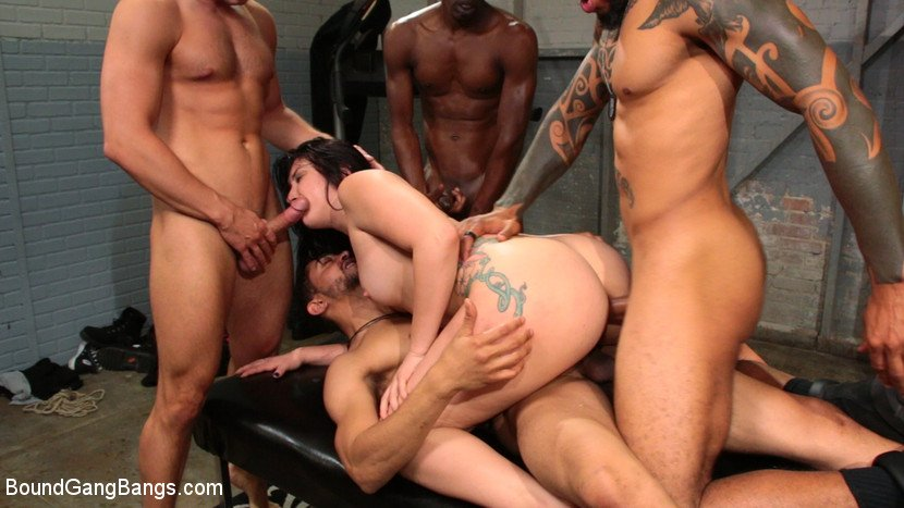 Mandy Muse - Mandy Muse Gets Her Big Ripe Ass Bound Up and Gangbanged (BDSM, Gangbang) [SD] - BoundGangBangs.com