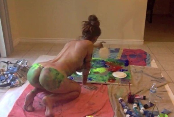 Isis Love - Painting Naked Using My Boobs, Nipples, Ass, Pussy, Hands and Feet (Latina) [SD] - OnlyFans.com